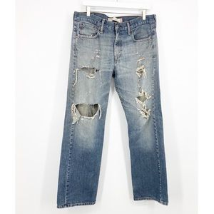 Levi's 569 Distressed Ripped Straight Leg Jeans 32